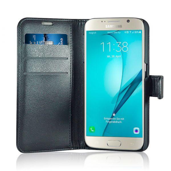 Fashion - Samsung S6 - vegansk læder - 86% beskyttelse - sort