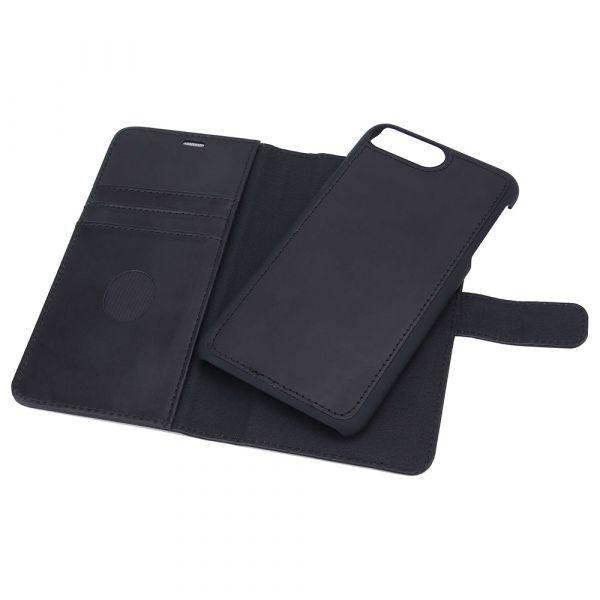 Exclusive 2-i-1 - iPhone 6/7/8 PLUS - ægte læder - 86% beskyttelse - sort