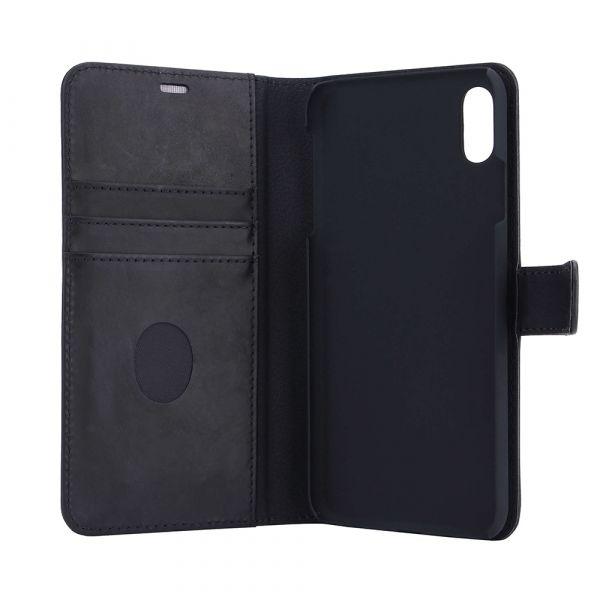 Exclusive 2-i-1 - iPhone Xs MAX - ægte læder - 86% beskyttelse - sort