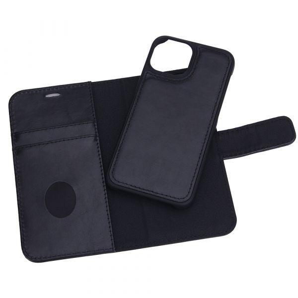Exclusive 2-i-1 - iPhone 13 MINI - ægte læder - 86% beskyttelse - sort