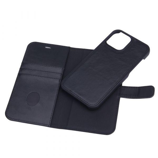 Exclusive 2-i-1 - iPhone 13 PRO MAX - ægte læder - 86% beskyttelse - sort