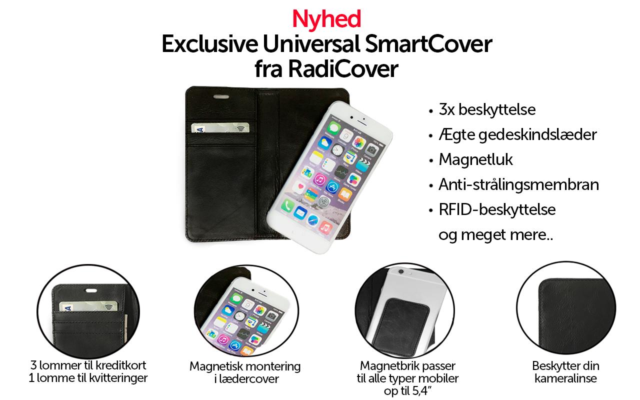 Feature page - RadiCover Universal Cover - Universal cover i ægte læder med RFID beskyttelse mod kontaktløs kreditkorttyveri, beskytter mod 86 % mobilstråling og beskytter din smartphone mod slid, skader og ridser.