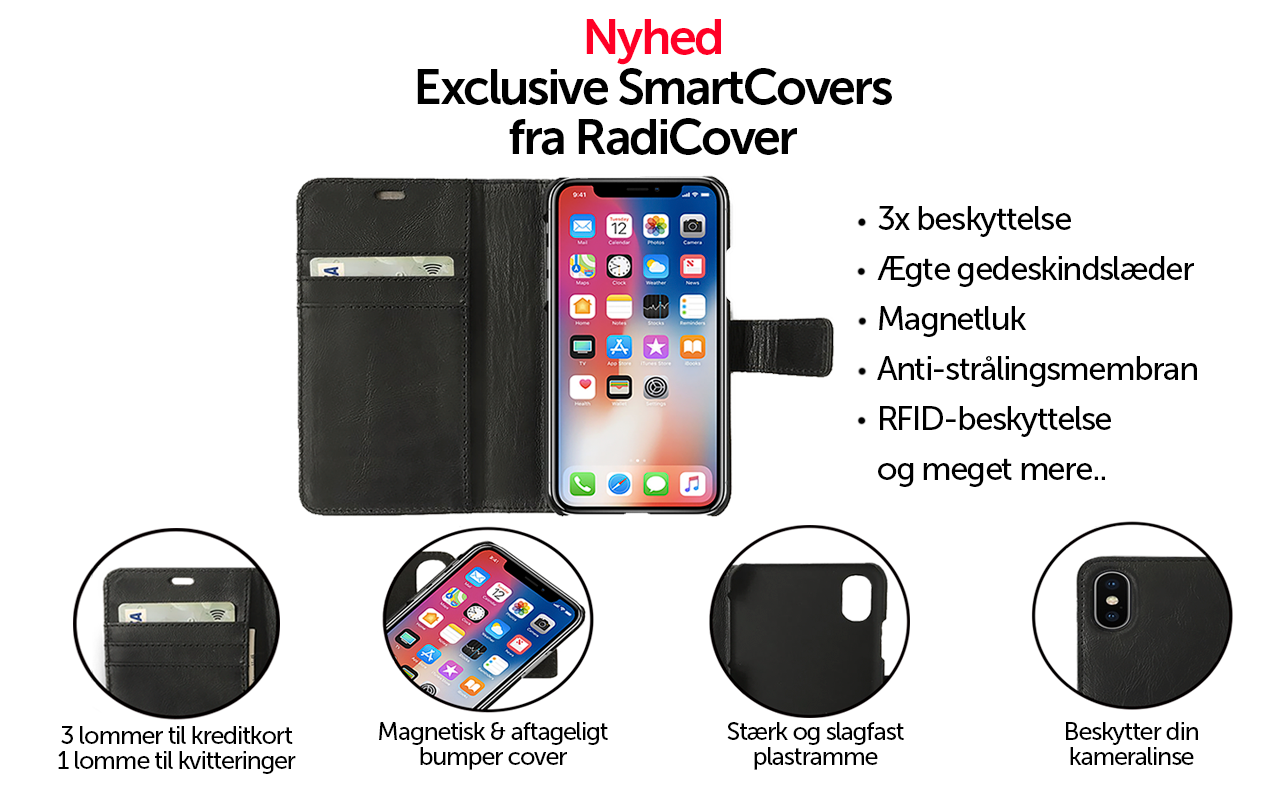 Feature page - RadiCover Smartcovers - iPhone 5, 5s, se, 6, 6s, 7, 7s, 8, iphone x, universal covers, rfid beskyttelse, anti-mobilstråling