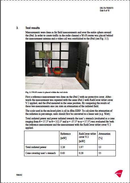 Delta testrapport - Radicover anti-strålings tablet cover